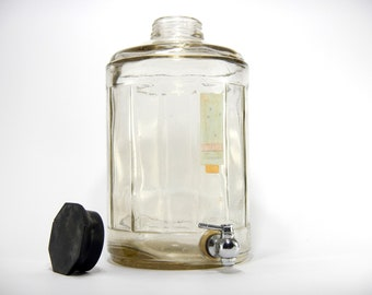 Large apothecary perfume bottle, vintage perfume bottle, Glass Bottle spigot, apothecary perfume bottle, faucet glass bottle, Perfume bottle