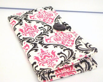 12 Slot Loyalty Card Organizer Holder,  Business Card,Gift Card Wallet -  Pink and Black Damask Decor Fabric