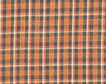 Plaid Fabric | Cotton Fabric | Homespun Fabric | Craft Fabric | Sewing Fabric | Garland Making Fabric | Rust Khaki Black And Natural Fabric