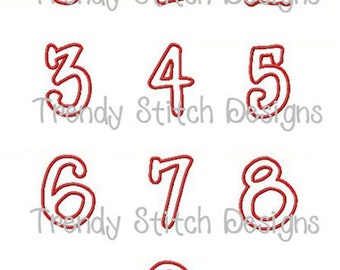 Whimpy Numbers Applique Design Machine Embroidery Font Birthday INSTANT DOWNLOAD 1 2 3 4 5 6 7 8 9 0
