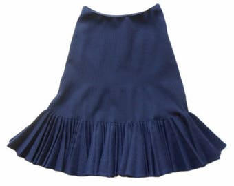 Azzedine Alaïa : navy blue new wool SKIRT with pleats, size M, vintage 80s, Alaïa vintage luxury skirt Made in France midi skirts
