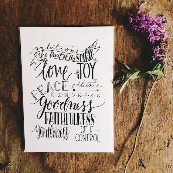 Fruit of the Spirit print, 8x10 hand lettered illustration, Christmas gift, scripture art gift for her, Galatians 5:22, gift for pastor