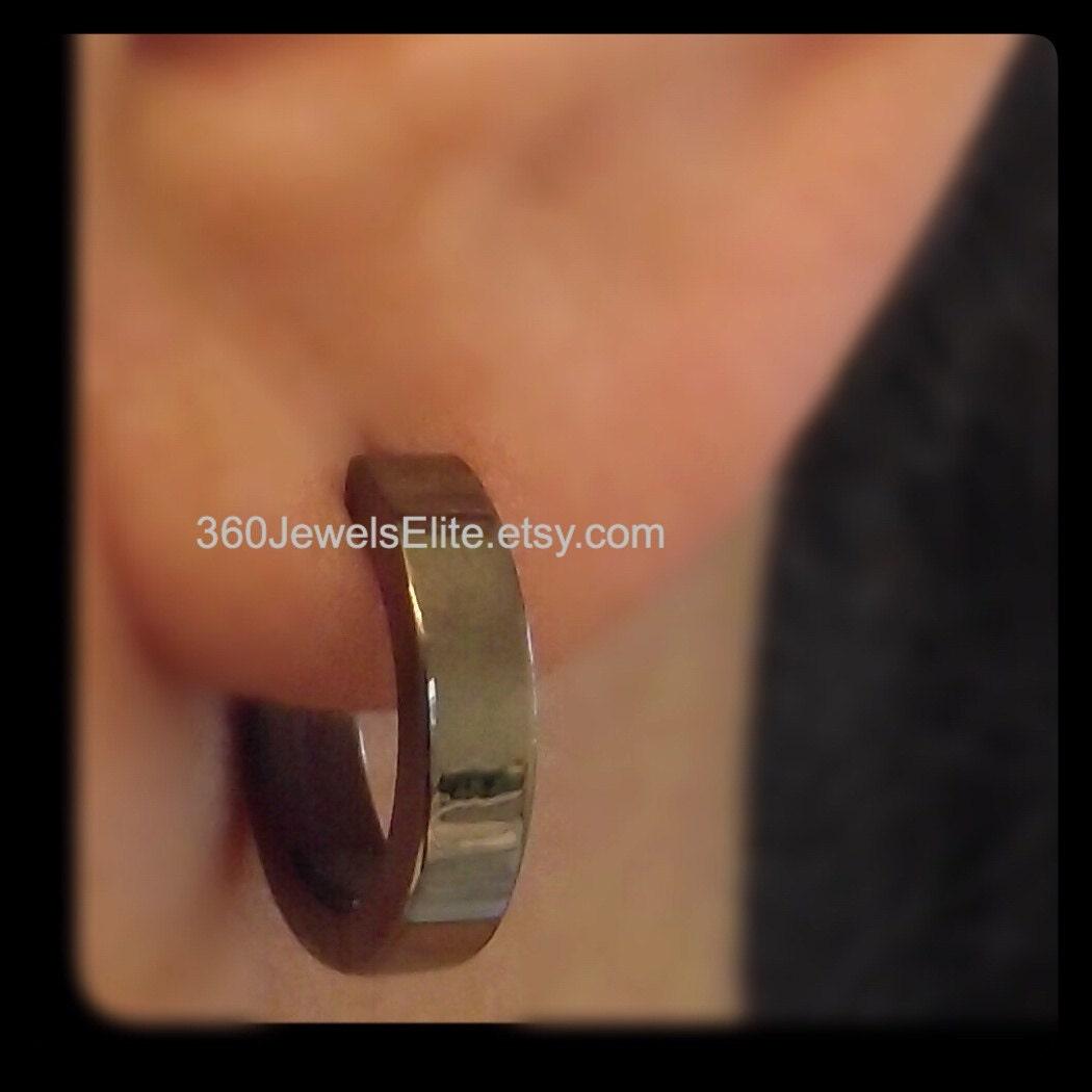 XL Black Gold Hoop Earrings For Men Extra Large Hoop