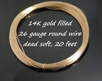 26 gauge 14K gold filled dead soft round wire, 20 feet
