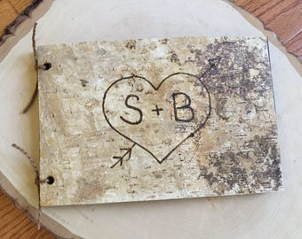 "Wood and Birch Covered 9"" x 6"" Birch Bark Wedding Guest Book - Advise Book - Rustic Wedding Wishes Book - Woodland Wedding - Barn Wedding"