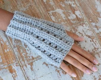 Crochet PATTERN knit look  Fingerless mittens women men gloves armwarmers for couples, DIY photo tutorial, Instant download