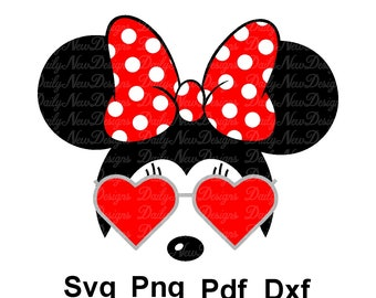 Disney Minnie Mouse Face SVG, Heart Glasses, Cricut Files Disney, Cute Minnie, PNG Files Svg Files for Silhouette, Mickey Minnie Clipart