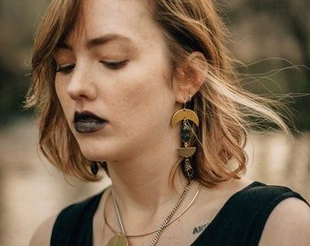 Snake Eyes Earrings with Labradorite / Lilith of the South Collection