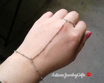 Silver Satellite Hand Chain Slave Bracelet Boho Slave Bracelet Silver Hand Chain Boho Slave Bracelet Ring Harness Bracelet