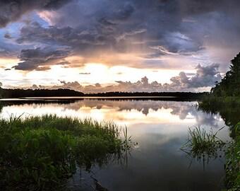 "Lake Photo, Stormy Sunset, Florida Photography, Nature Photography, Large Wall Print, Fine Art Photography - ""Cloud Mountains"""