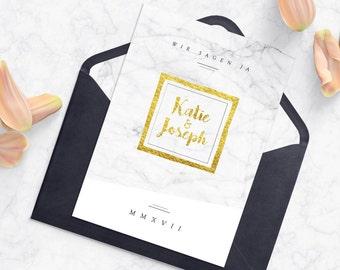 Wedding Invitation   Marble Optics   Marble Look   White & Gold