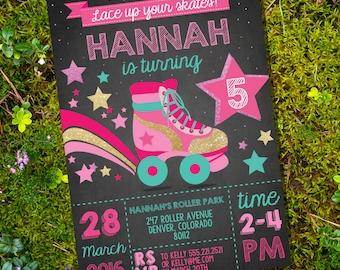 Rollerskating Party Invitation - Rollerskate - Retro Rollerskate - Roller Skating Party - Instant Download and Edit File with Adobe Reader