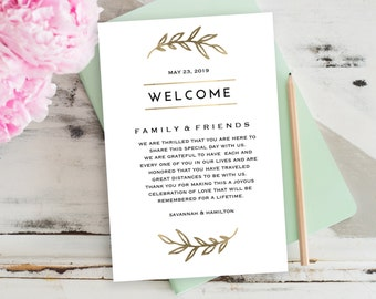 """Wedding Welcome Bag Note, Gold Wedding Calligraphy, Welcome Bag Letter, Printable Wedding Itinerary, Agenda 