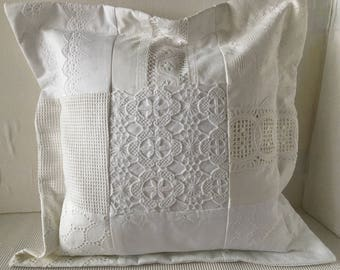 Pillow White Shabby Patchwork