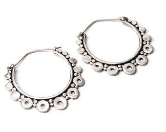 White Brass Bold Dots Hoop Earrings Tribal Earrings Mandala Jewellery Free UK Delivery Gift Boxed WB6