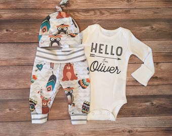 Woodland Baby Boy Coming Home Outfit, Going Home Outfit, hello world, hello name outfit, baby boy