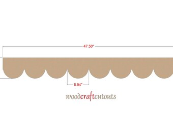 Scalloped Wood Molding Trim / Unfinished / Trim / Wall Crown Ceiling Decor - 48 Inches