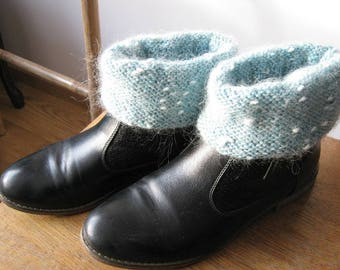 Turquoise mohair arm warmers