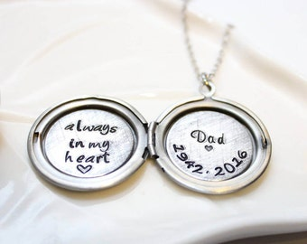 personalized locket, remembrance locket, remembrance jewelry, remembrance necklace, memorial locket, memorial jewelry, memorial necklace