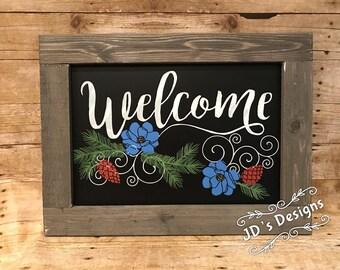 Welcome Barnwood Framed Sign