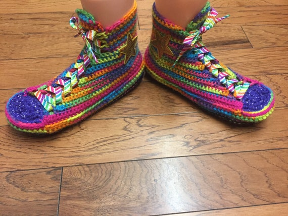 rainbow 8 top Tennis high Slippers converse Womens Top Crocheted slippers slippers 186 Sneaker converse Shoe 10 List converse crocheted High waARqv