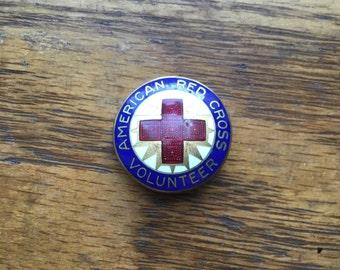 World War 2 Vintage US American Red Cross Volunteer Enamel Badge ARC WW2 Numbered