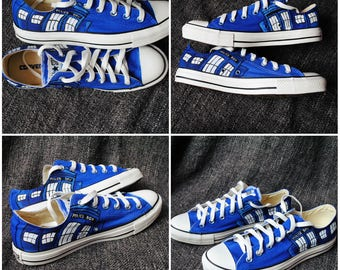Personalized handpainted shoes, Tardis, Doctor Who Converse SIZE 8