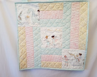 Baby's first quilt, unicorn mini quilt, unicorn baby shower, unicorn wall art, dragon wall art, sarah jane fabric, baby quilt
