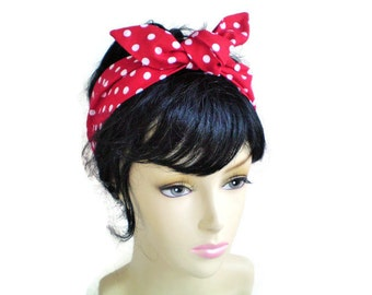 Red and White Polka Dot Head Scarf, 1940s Head Scarf, 1950s Head Scarf, 50s Pin Up Head Scarf, Red and White Dot Headwrap