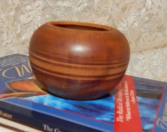 Small Wood Turned Bowl with Engraved Circles on Middle Coin Box