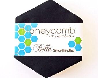 Solid Black Hexagons - Bella Solids Black Honeycomb - Moda 9900HC 99 - Black Hexies