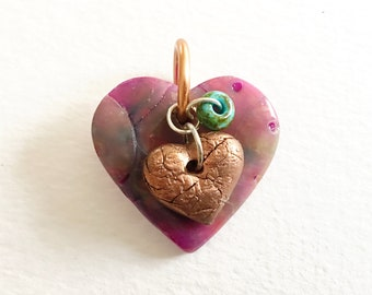 Heart Pendant - Faux opal heart shaped polymer clay pendant with a copper heart and turquouse bead