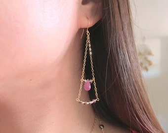 Triangular Smoky Quartz and Natural Ruby Gemstones Gold filled Earrings by Anabel Nove