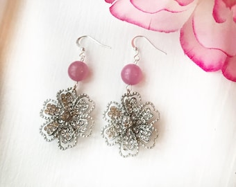 Pink and rhinestone earrings, pink bridesmaids earrings, silver rhinestone flower earrings, floral dangles, flower dangles, oversized