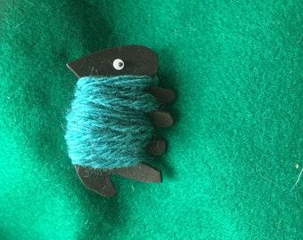 Quirky sheep pin brooch
