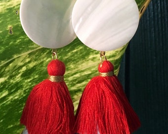 Mother Of Pearl Tassel Earrings, Bohemian Earrings, Tassel Fringe Earrings, Three Tier Tassel Earringns, Oversized Earrings, Festival Vibes