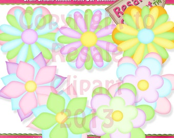 Cute LiL Flowers Clipart (Digital Download)