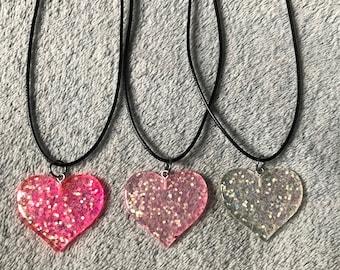 Glitter Heart Resin Necklace