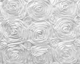 Satin Rosette 3D Floral Design Fabric By The Yard Available In Many Colors