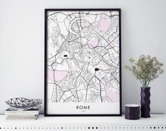 Rome Italy Art, City Map Print Wall Art | A4 A3 A2 A1