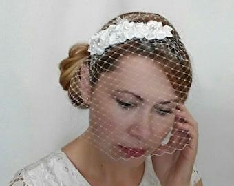 Wedding Birdcage Veil headband, Bridal Veil and Headpiece, Wedding Veil, Ivory Birdcage Veil, Wedding Flower Headpiece Ivory, Satin Flowers