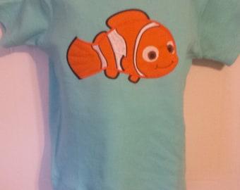 Boys Finding Dory Nemo Orange Clown Fish Personalized Birthday Shirt or Onesie