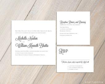 Customizable Square Wedding Invitation Set