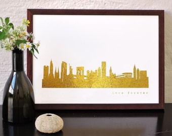 NEW YORK Print Gold, New York Wall Art, New York Skyline, New York City Gold Foil Poster, New York Gift, Gold Art-Print, wedding anniversary