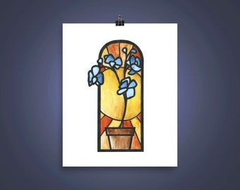 Blue Orchid and Sun Stained Glass Watercolor Print