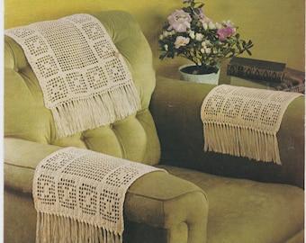 Vintage PDF crochet pattern Chairback & Arm Covers anti macassa fringed