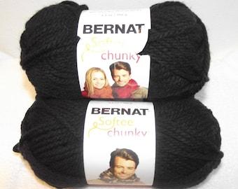 Bernat Softtee Chunky Yarn, Black Bernat Yarn, Black Chunky Yarn, Black Bulky Yarn, Bulky Black Yarn, Bernat Yarn, Bernat Softee