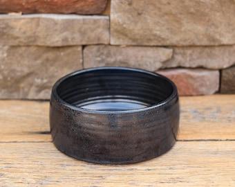 Stoneware Ceramic Dog Bowl // Graphite Satin Black // Pottery Dog Bowl