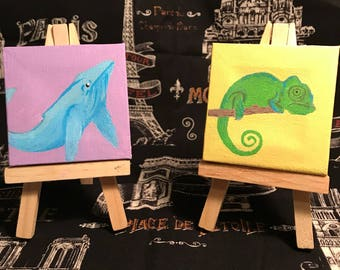 Tiny Whale and Chameleon paintings on canvas