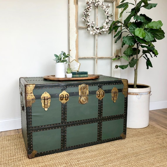 Antique Steamer Trunk use as Coffee Table or End of Bed Storage Trunk - Trunk Chest for furnishing Living Room or Bedroom Space -Industrial